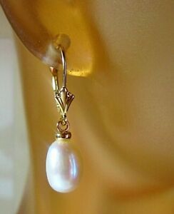 Pair of Solid 14KT Gold Lever Back Cultured Akoya Pearl Earrings 7.75 x 11 mm