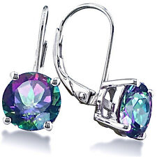 STERLING SILVER 3.5CT ROUND MYSTIC TOPAZ LEVERBACK DROP EARRINGS