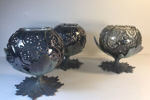 Glass And Metal Candle Votives / Floral Vases Set Of 3 Unbranded Light Purple An