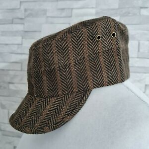 New Mens Cap Brown WOOL Blend Tank Army Military Train Driver Hat ONE SIZE