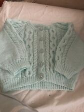 Hand Knitted Mint Green  Baby Cardigan 0/3mths