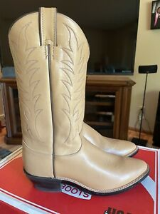 Justin Natural Mule hide Cowboy Boots 11.5B- New In Box!  Make An Offer!