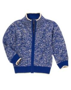 GYMBOREE SUPER DUDE BLUE MARLED CARDIGAN SWEATER 4 5 6 10 12 NWT