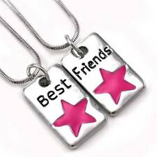 Hot Pink Star Best Friend Forever BFF Pendant Necklace Charm Silver Tone Dog Tag