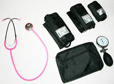 ICE Medical Aneroid Blood Pressure Sphygmomanometer and Pink Stethoscope