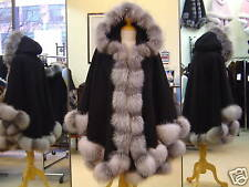 Black Cashmere Hooded Cape With Indigo Fox Fur Trim Beautifully Canadian Label
