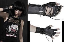 Gant mitaine cuir gothique punk lolita spike clous rivets laçage Punkrave mixte