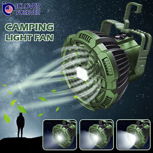 2-IN-1 Portable Outdoor Camping Ceiling Fan Light LED Hanging Tent Lamp Lantern