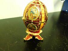 Catholic Red Faberge egg trinket box keepsake box collectible gold free shipping
