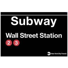 WALL STREET NEW YORK CITY   MTA METAL SUBWAY SIGN