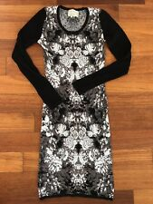 NICOLE MILLER Graphic Print Bodycon Fitted Sexy Sweater Dress Sz 0 XS S $290 EU