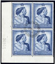 Great Britain 1948, SG. 494 £1 blue, cornerblock of four used. Attest Richter