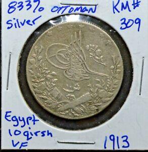 Ottoman Empire, Egypt 10 Qirsh, Silver Coin, AH 1325