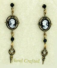 24k Gold Plated Brass Vintage Look Black Jet Crystal Cameo Drop Earrings w/ Box