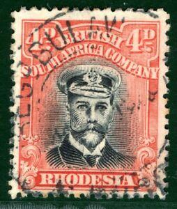 RHODESIA BSACo KGV Admiral SG.294 4d Orange-Vermilion (1922-23) Cat £50 EBLUE39