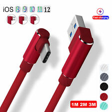 1/2/3M Type C 90 Degree Right Angle USB Fast Data Charging Android Charger Cable