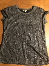 Cha Cha Vente Sequined Charcoal Grey T Shirt Size L