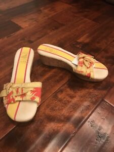 Sperry Top-Sider Yellow Floral Cork Wedge Sandals, Size 8