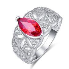 Noble Women Red Marquise Cut Garnet Gemstone Fashion Christmas Silver Ring Gift