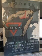CUT 60! 1918 WWI YMCA POSTER - YMCA WORKERS LEND YOUR STRENGTH - GREAT ART!