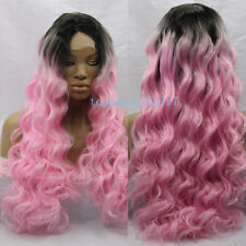 24'' Synthetic Hair Lace Front Wig Long Wavy Pink Ombre Color Wigs