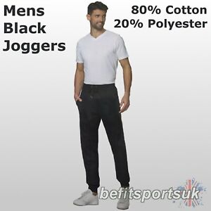 MENS TAPERED COTTON TRAINING RUNNING LOUNGE GYM JOGGERS JOGGING PANTS BLACK