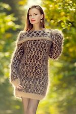 Leopard sweater dress fuzzy mohair hand knitted sexy cowlneck tunic SuperTanya