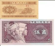 CHINA TWO NOTES (1 FEN 1953 + 5 JIAO 1980) UNC