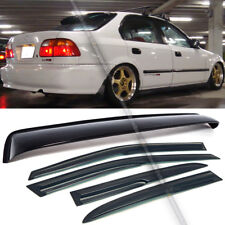 For 96-98 Honda Civic 4DR Sedan Mugen Style Wavy Window Visor + Rear Roof Visor