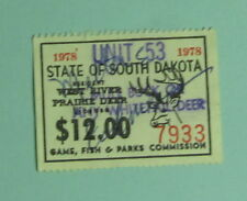 1978 South Dakota Resident West River Deer Hunting License Permit Stamp