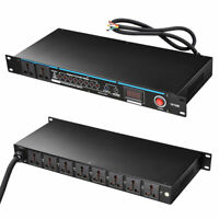 10 Outlet Power Sequencer Conditioner G-type Rack Mount 30 Amp w/ LED Display