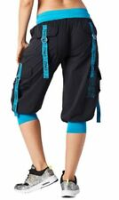 Authentic New Zumba Throwback Glow Cargo Capri Pants ~ Bold Black  ~  XS  ~  NWT