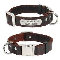 Collar de Perro Personalizado de Cuero Para Perros Medianos Grandes Grabado