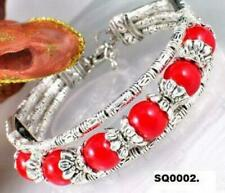 Bracciali di bigiotteria rossi in argento tibetano