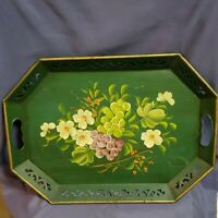 Vintage 50s Hand Painted Tin Tole/Toleware Tray Etched Floral Design