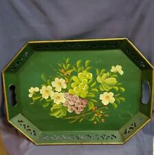Vintage Antique Hand Painted Tin Tole/Toleware Tray With Floral Design