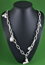 Antique Silver Chunky Chain With Various Silver Charms Long Necklace 98 cm