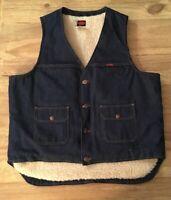 """BIG BEN Mens Denim Vest Vintage USA Large 46"""" Faux Shearling Lining Snap Closure"""