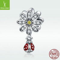 Real 925 Sterling Silver Daisy Charm Ladybug Dangle Bead For Bracelet CZ Jewelry