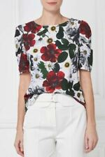 NEXT White Green Red Floral Short Sleeved Top Size 22