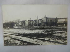 VINTAGE REAL PHOTO POSTCARD TOWN VIEW & RAILROAD DEPOT WATERMAN ILLINOIS 1907