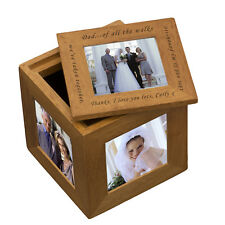 Personalised Oak Cube Photo Frame - Wedding Gift Bride to Father, Holds 5 Photos