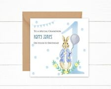Personalised Grandson 1st Birthday Card Peter Rabbit One Today