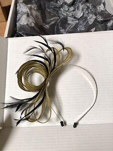 UK Handmade New Wedding Side Band Fascinator Olive Black Feather In Box Still!