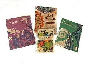 Art Therapy and Paisleys Adult Coloring Book Bundle (4 New Books Included)