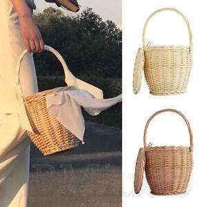 100% Handmade Bamboo Handbags Ladies Wicker Bag With Lid Basket Straw Bucket Bag
