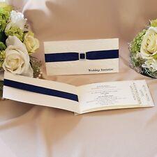 navy midnight blue ivory lace cheque book wedding invitation (Linda)