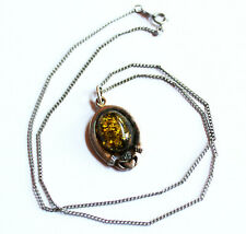 Nice BLI Sterling Silver Amber Stone Claddagh Pendant Necklace Made in Ireland