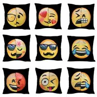 Emoji Reversible Decorative Pillow Case Sequin Cushion Home Sofa Decor WXD