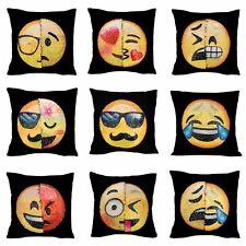 Reversible Emoji Decorative Pillow Case Sequin Cushion Home Office Sofa Decor